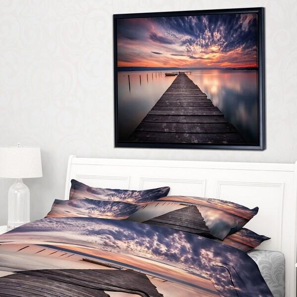 Designart 'Colorful Sunset Over Lake' Landscape Photography Framed Canvas Print