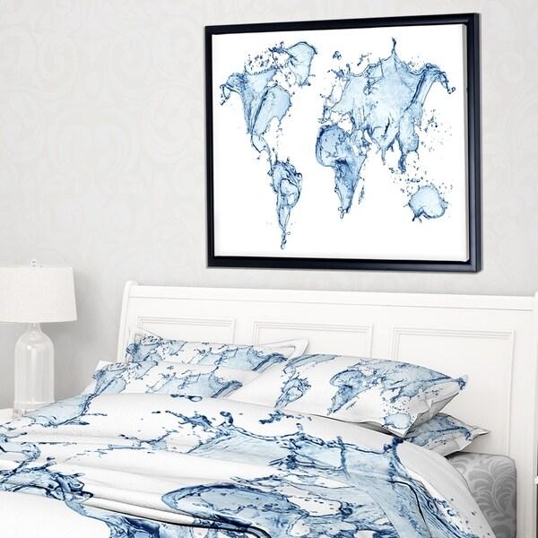 Shop designart world map water splash abstract map framed canvas designart x27world map water splashx27 abstract map framed canvas gumiabroncs Images