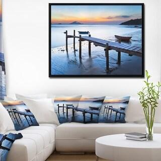 Designart 'Old Wooden Pier in Bright Sea' Seascape Framed Canvas Art Print