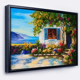 Designart 'House Near Sea Oil Painting' Landscape Painting Framed Canvas Print