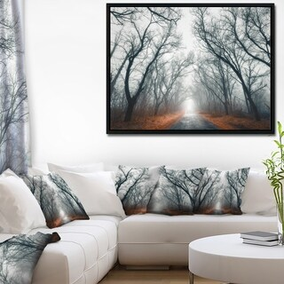 Designart 'Mystic Road in Forest' Landscape Photography Framed Canvas Print