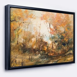 Designart 'Forest in Autumn Oil Painting' Landscape Painting Framed Canvas Print