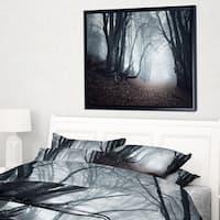 Designart 'Mysterious Fairytale Foggy Wood' Landscape Photography Framed Canvas Print
