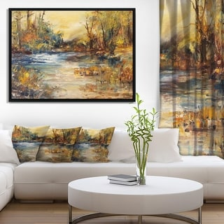 Designart 'Stream in Forest Oil Painting' Landscape Painting Framed Canvas Print