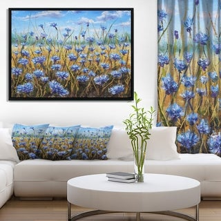 Designart 'Blue Flowers in Meadow Painting' Floral Painting Framed Canvas