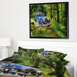 Designart 'Blue Vintage Car Oil Painting' Car Framed Canvas Art Print