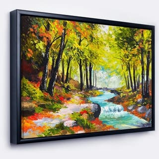 Designart 'River in Green Autumn Forest' Landscape Painting Framed Canvas Print