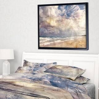Designart 'Retro Ocean Watercolor' Seascape Painting Framed Canvas Art Print