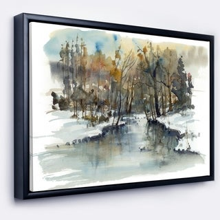 Designart 'River in Woods Watercolor' Landscape Painting Framed Canvas Print