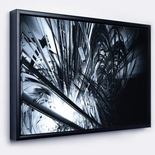 Designart '3D Abstract Art Black White' Abstract Framed Canvas art print