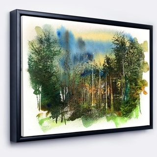 Designart 'Colorful Forest Watercolor' Landscape Painting Framed Canvas Print