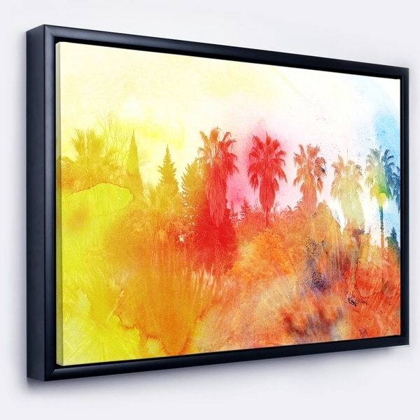 Shop Designart \'Abstract Tropical Landscape\' Abstract Framed Canvas ...