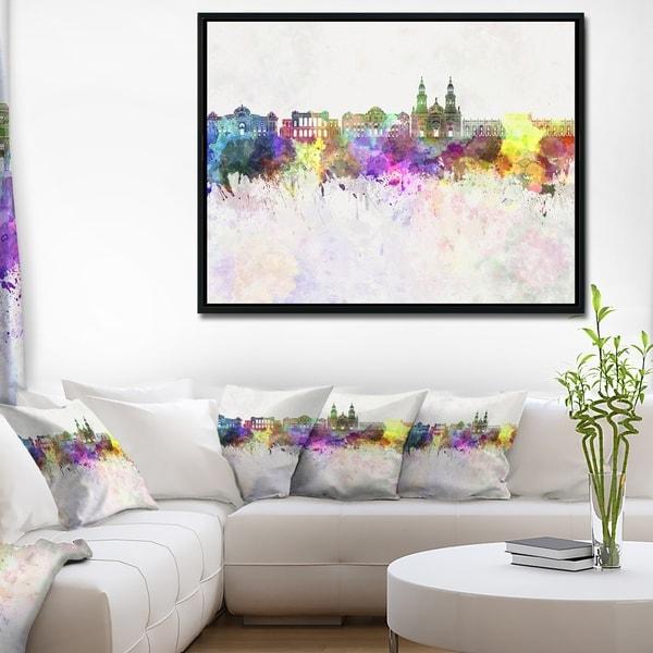 Designart \'Santiago de Chile Skyline\' Cityscape Painting Framed ...