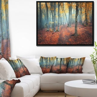 Designart 'Red and Yellow Autumn Forest' Landscape Photography Framed Canvas Print