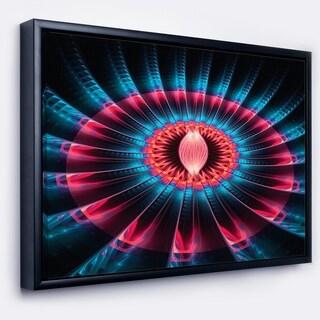 Designart 'Abstract Colorful Fractal Flower' Floral Framed Canvas Art print