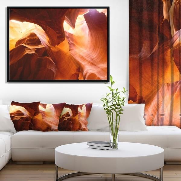 Designart 'Yellow Antelope Canyon' Landscape Photo Framed Canvas Art Print