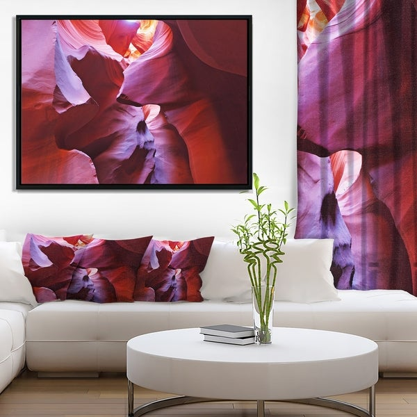 Designart 'Purple Rays in Antelope Canyon' Landscape Photography Framed Canvas Print