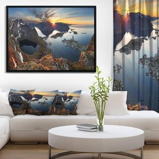 Designart 'Rocky Sea Mountains' Seascape Photography Framed Canvas Art Print