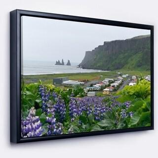 Designart 'Icelandic Town Vik' Landscape Photography Framed Canvas Art Print