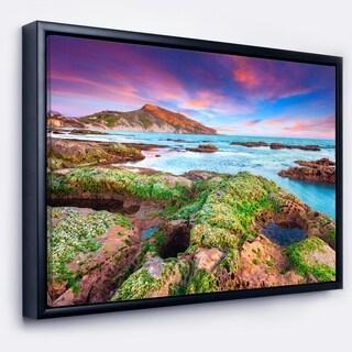 Designart 'Giallonardo Beach Spring Sunset' Seashore Photo Framed Canvas Print