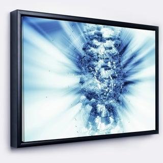 Designart 'Fractal 3D Blue Splash Burst' Abstract Framed Canvas Art Print