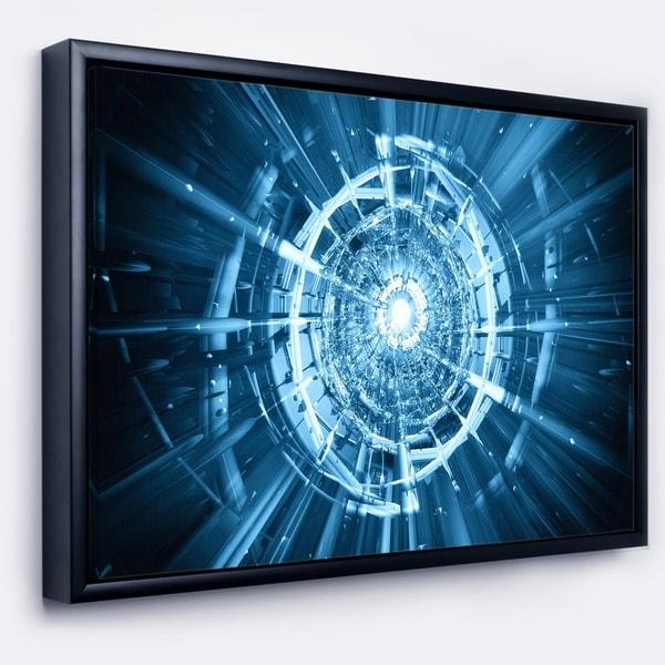 Designart 'Fractal 3D Deep Blue Spiral' Abstract Framed Canvas Art Print