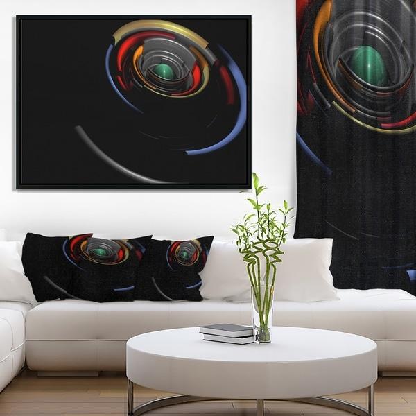Designart 'Fractal 3D Circled Stripes' Abstract Framed Canvas Art Print
