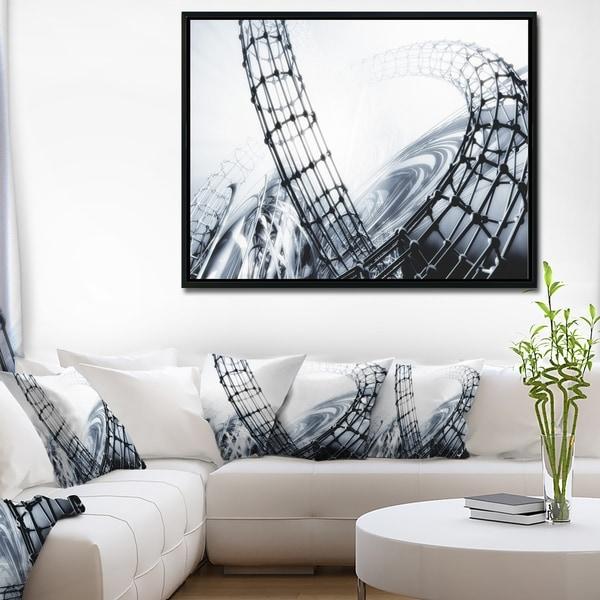 Designart X27Fractal 3D Black White Designx27 Abstract Framed Canvas