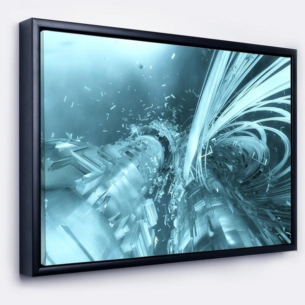 Designart 'Fractal 3D Light Blue Collision' Abstract Framed Canvas Art Print