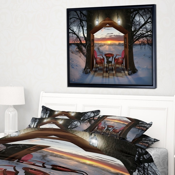 Shop Designart \'Home Shaped Trees Collage\' Landscape Framed Canvas ...