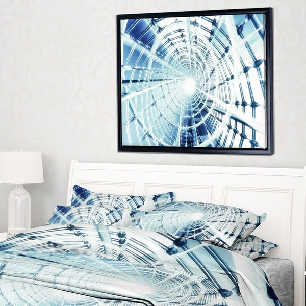 Designart 'Fractal 3D Network Spiral' Abstract Framed Canvas Art Print