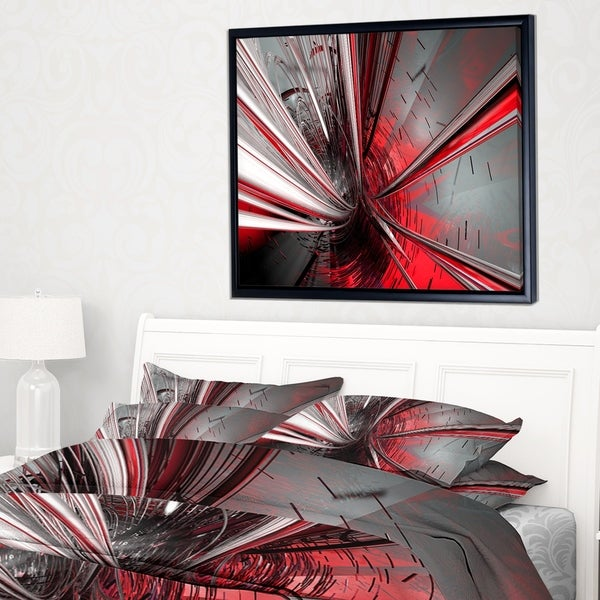 Designart 'Fractal 3D Deep into Middle' Abstract Framed Canvas Art Print