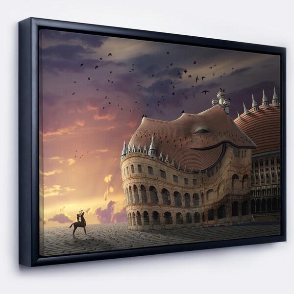 Designart 'Wake Up Dragon Collage' Landscape Framed Canvas Art Print