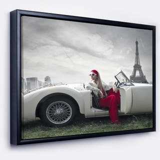 Designart 'Fashion Woman in Car' Cars Framed Canvas Art Print