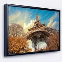 Designart 'Eiffel with Winter Vegetation' Skyline Photography Framed Canvas Art