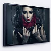 Designart 'Passionate Woman in Black' Portrait Framed Canvas Art Print