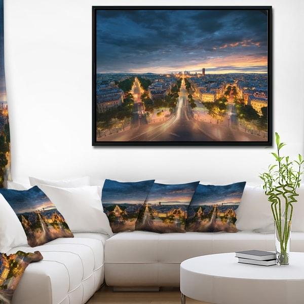Designart 'Night Paris Amazing View' Skyline Photography Framed Canvas Art