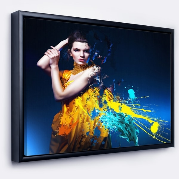 Designart 'Sexy Woman in Long Yellow Robes' Portrait Framed Canvas Art Print