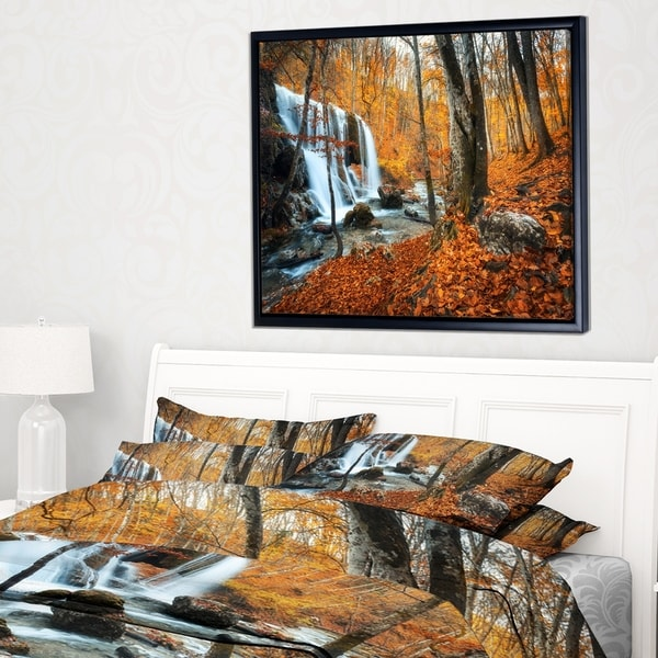 Designart 'Autumn Mountain Waterfall Close View' Landscape Photography Framed Canvas Print
