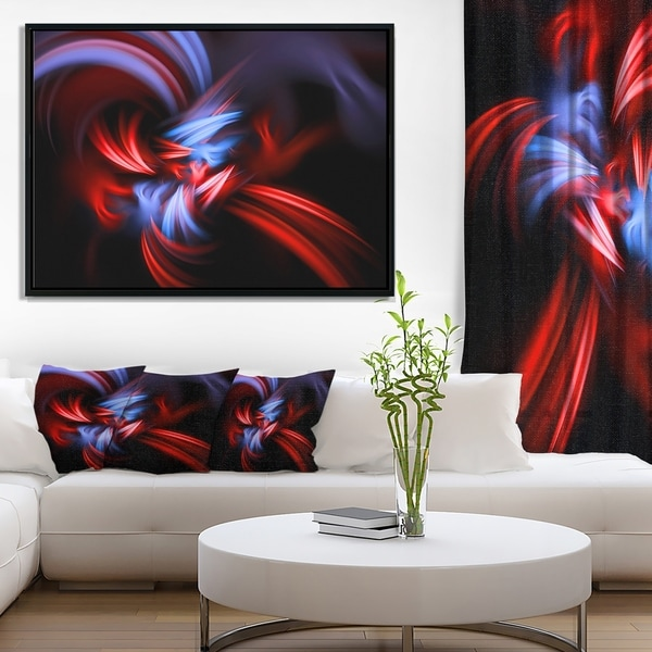 Designart 'Fractal Red Connected Stripes' Abstract Framed Canvas Art Print