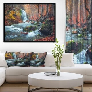 Designart 'Autumn Mountain Waterfall Long View' Landscape Photography Framed Canvas Print
