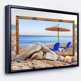 Designart 'Framed Effect Beach with Chairs Umbrella' Seashore Photo Framed Canvas Art Print