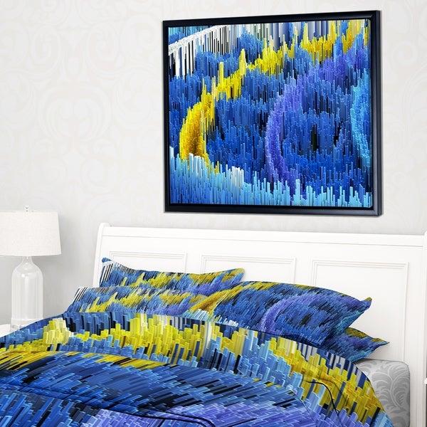 Designart 'Macro Render Structure Blue Yellow' Framed Canvas Art Print