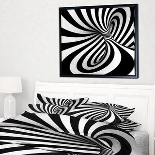 Designart 'Spiral Black n White' Abstract Framed Canvas Art Print