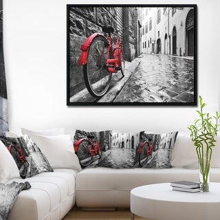 Designart 'Retro Vintage Red Bike' Cityscape Photo Framed Canvas Art Print