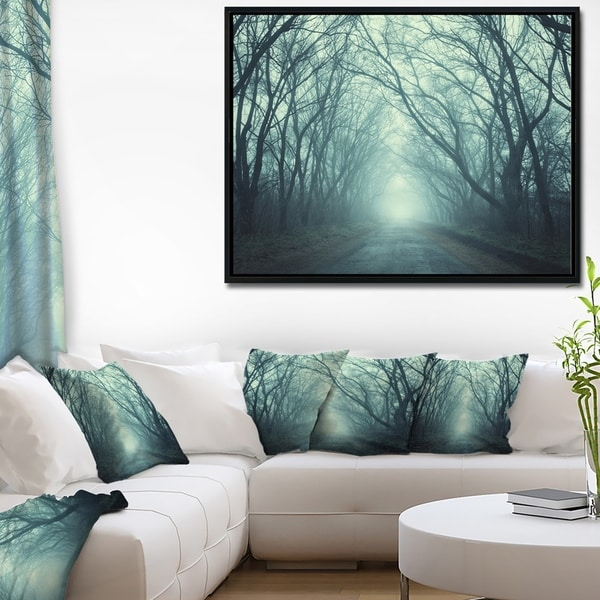 Designart 'Scary Forest with Green Light' Landscape Photography Framed Canvas Print