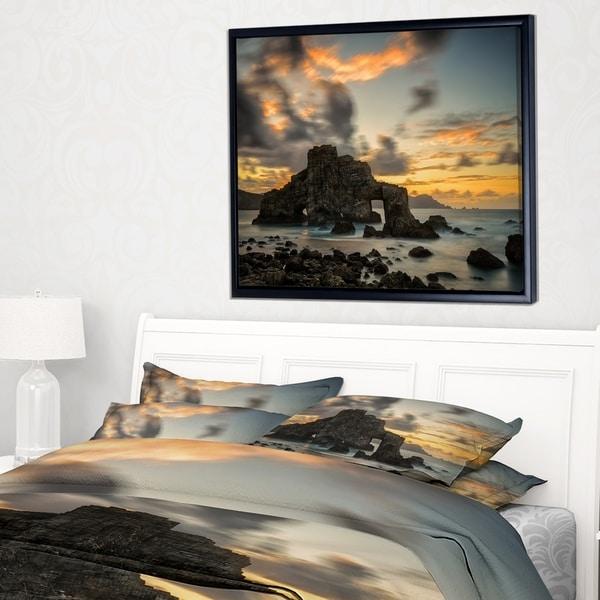 Designart 'Yellow Atlantic Coast in Spain' Seashore Photo Framed Canvas Print