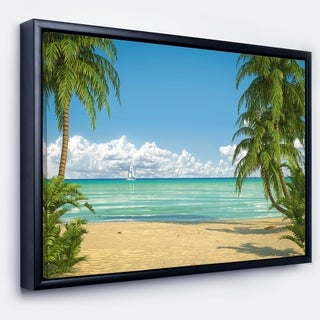 Designart 'Palms at Caribbean Beach' Seashore Photo Framed Canvas Art Print