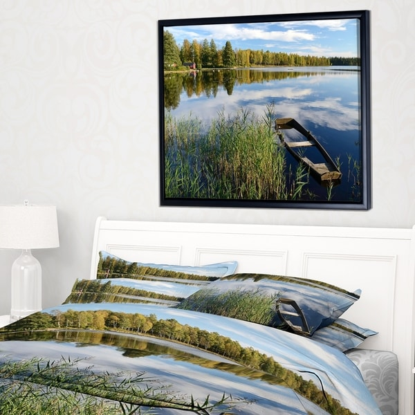 Designart 'Beautiful Swedish September Lake' Landscape Photography Framed Canvas Print
