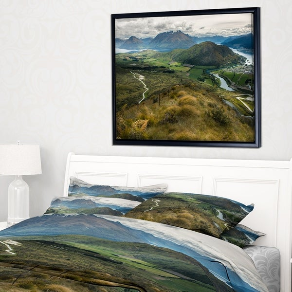 Designart 'Fields and Hills in New Zealand' Landscape Photography Framed Canvas Print